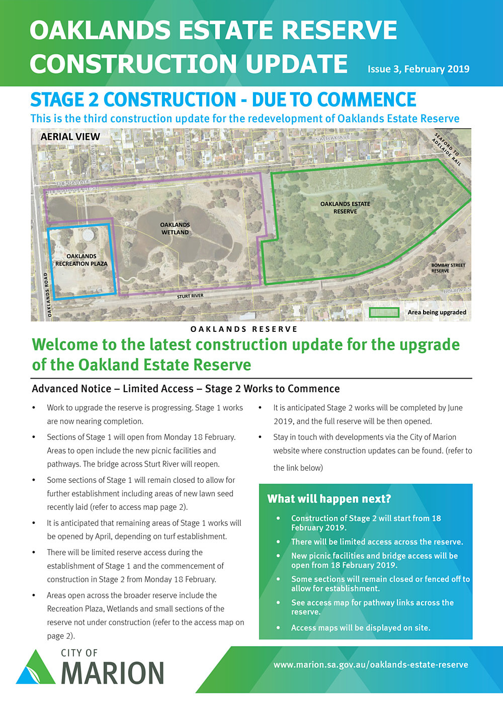 Oaklands Estate Reserve Construction Update Issue 3 February 2019 Pg1