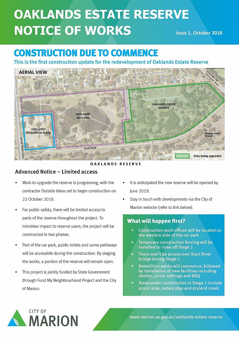 Oaklands Reserve | Oaklands Estate Reserve | Notice Of Works | October 2018 (Page 1/2)