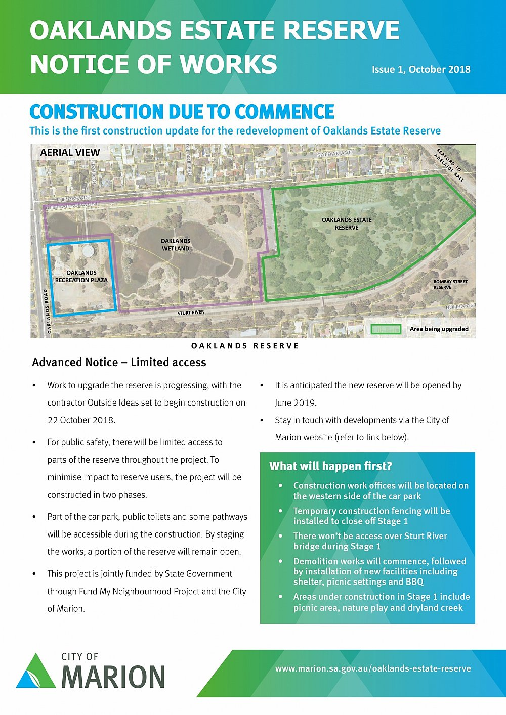 Oaklands Reserve | Oaklands Estate Reserve | Notice Of Works | October 2018 (Page 1/2)