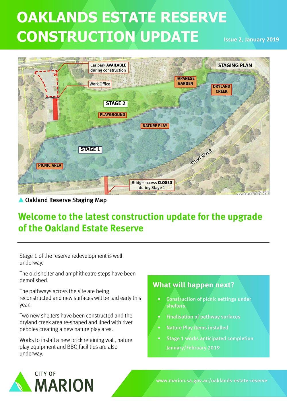 Oaklands Reserve Oaklands Estate Reserve Issue 2 January 2019 Construction Update Pg1