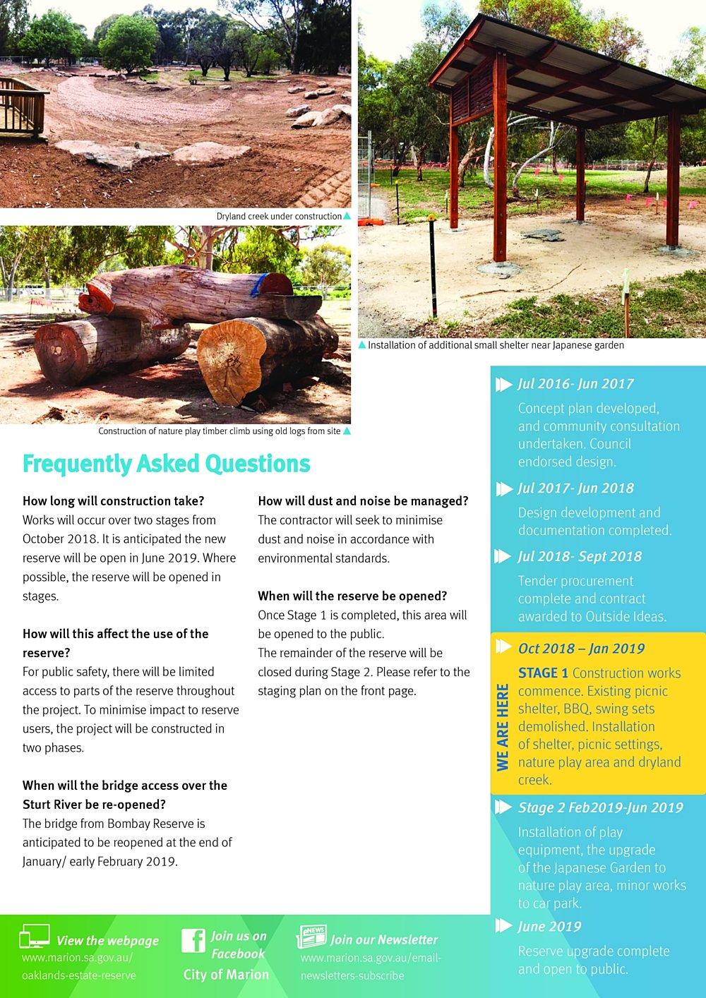 Oaklands Reserve Oaklands Estate Reserve Issue 2 January 2019 Construction Update Pg2