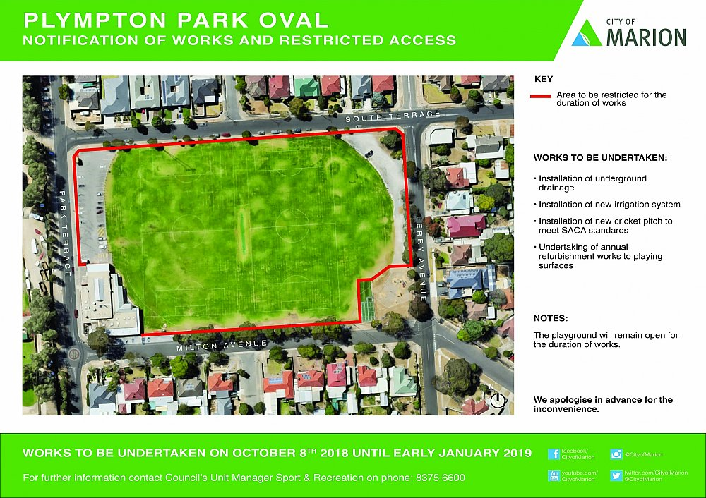 Plympton Oval Notice Of Works September 2018