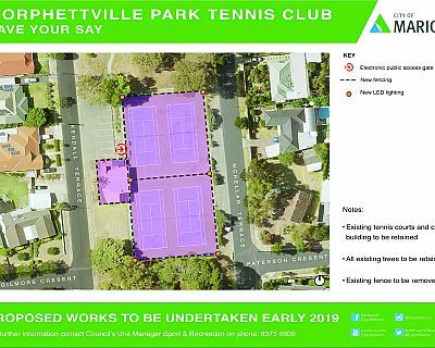 Mckellar Terrace Reserve Morphettville Park Tennis Club Notice Of Works September 2018