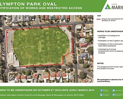 Plympton Oval Works 8 October 2018 To Early March 2019