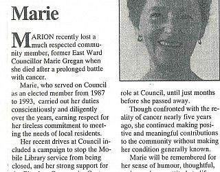Glandore Community Centre Marie Gregan Memorial Article Marion New And Views Winter 1993