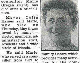 Glandore Community Centre Marie Gregan Memorial Article Messenger May 1993
