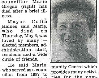 Glandore Community Centre Marie Gregan Memorial Article Messenger May 1993