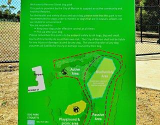 Reserve Street Reserve Dog Park Sign 2