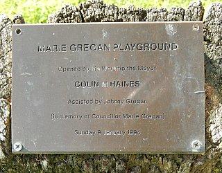 Glandore Community Centre Marie Gregan Playground Plaque 1