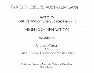 Hallett Cove Foreshore Master Plan   2015 PLA Award   Leisure Open Space Planning
