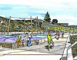 Hallett Cove Foreshore Master Plan Panorama Artist Impression Playspace 1 Jpg