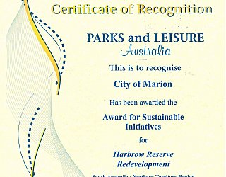 Harbrow Grove Reserve   2012 PLA Award   Sustainable Initiatives
