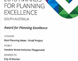 Hendrie Street Reserve Inclusive Playground Award Pia Best Planning Ideas Small Project 2018