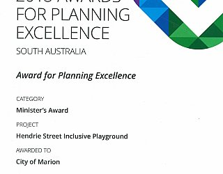 Hendrie Street Reserve Inclusive Playground Award Pia Ministers Award 2018