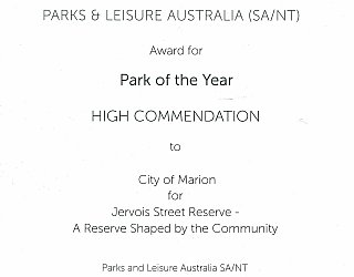 Jervois Street Reserve | 2017 PLA Award | Park of the Year