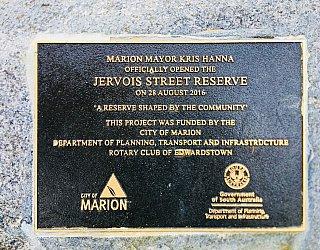 Jervois Street Reserve Plaque City Of Marion Dpti