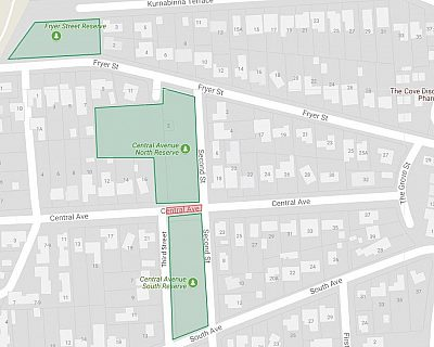 Central Avenue Reserve Fryer Street Reserve Map Location