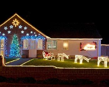 Christmas lights reindeer house