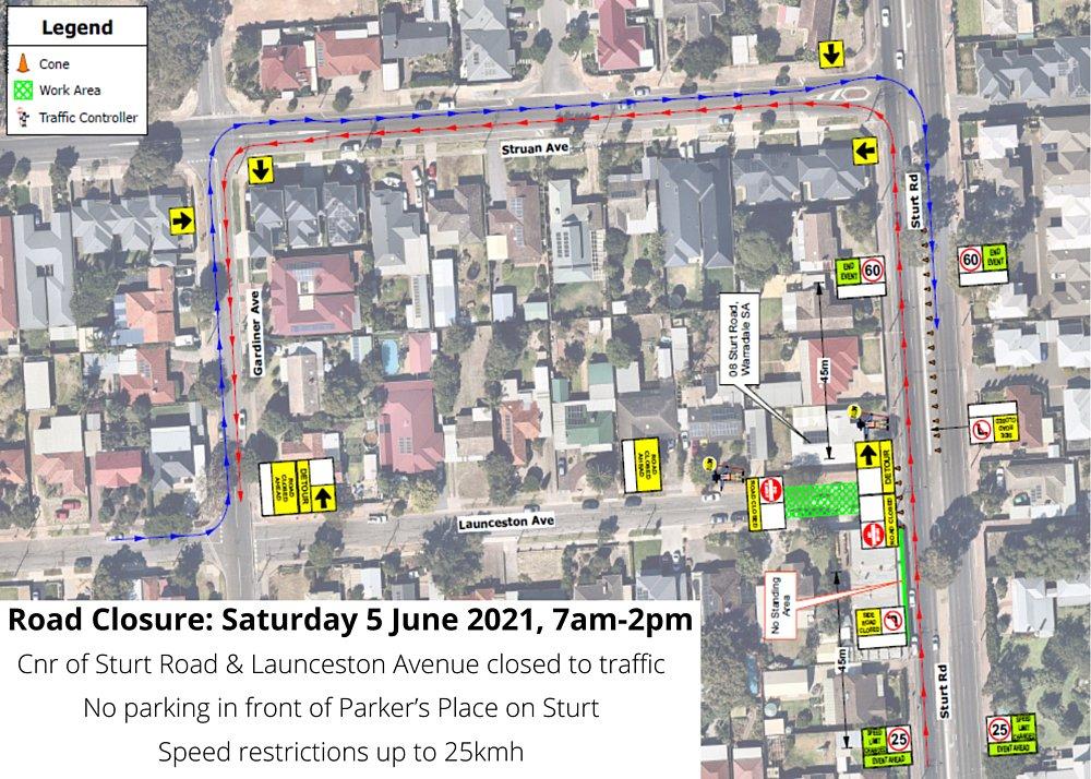 Parkers Place on Sturt Road Closure info