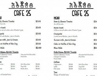Sat Cafe 25 Menu
